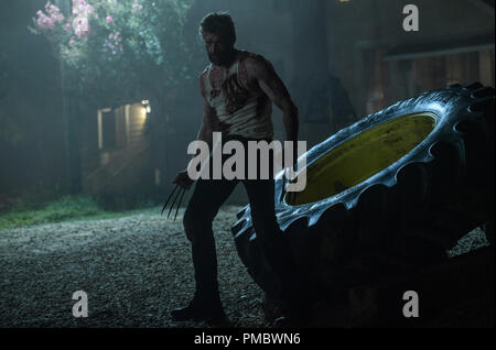 Hugh Jackman as Logan/Wolverine in LOGAN. (2017) Marvel / Twentieth Century Fox Film Corporation. - Stock Photo