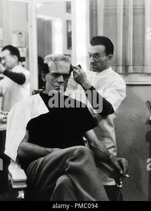 Boris Karloff in his dressing room during the making of  'The Bride Of Frankenstein' 1935 Universal   File Reference # 33480 918THA - Stock Photo