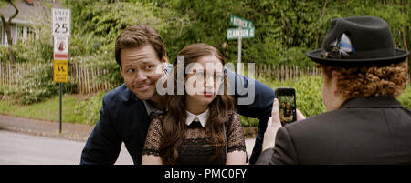 (L to R) Hunter (IKE BARINHOLTZ) with daughter Sam (GIDEON ADLON) and her date, Chad (JIMMY BELLINGER), in 'Blockers,' the directorial debut of Kay Cannon (writer of the 'Pitch Perfect' series).  When three parents discover their daughters' pact to lose their virginity at prom, they launch a covert one-night operation to stop the teens from sealing the deal. 2018 Universal Studios - Stock Photo