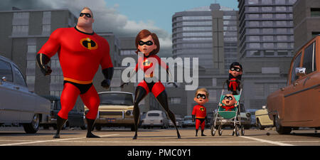 'Incredibles 2' (2018), Helen (voice of Holly Hunter) is in the spotlight, while Bob (voice of Craig T. Nelson) navigates the day-to-day heroics of 'normal' life at home when a new villain hatches a brilliant and dangerous plot that only the Incredibles can overcome together. Also featuring the voices of Sarah Vowell as Violet and Huck Milner as Dash © 2018 Disney/Pixar - Stock Photo