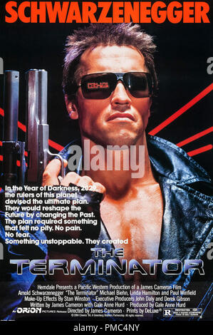 Arnold Schwarzenegger,  The Terminator (Orion, 1984). Poster File Reference # 33595 909THA - Stock Photo