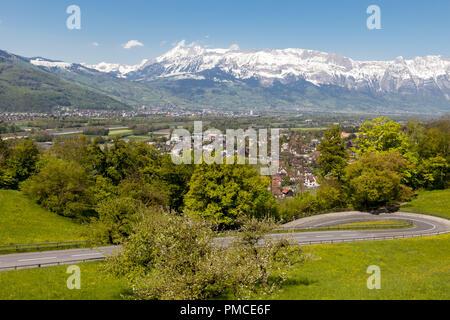 Aerial view of Vaduz, capital of Lichtenstein. - Stock Photo