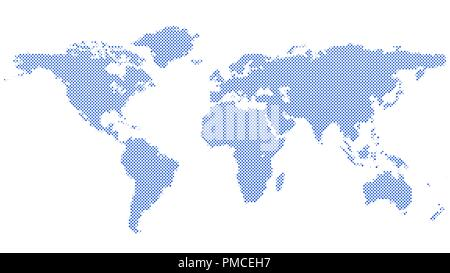 Blue halftone circle pattern world map background - Stock Photo