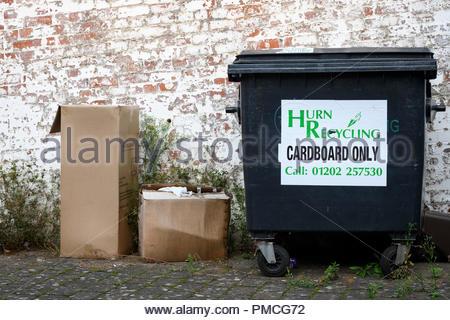 Cardboard waste bin, Blandford, Dorset, England, UK - Stock Photo