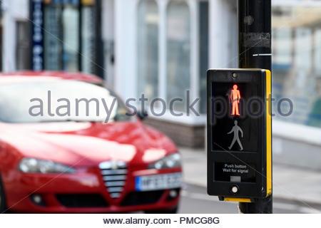 pedestrian crossing, Blandford, Dorset, England, UK - Stock Photo