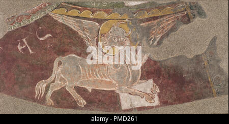 Winged Ox of Saint Luke from Sant Esteve d'Andorra. Date/Period: Ca. 1200-1210. Mural painting. Fresco transferred to canvas. Height: 10,000 mm (10.93 yd); Width: 20,000 mm (21.87 yd). Author: UNKNOWN. - Stock Photo