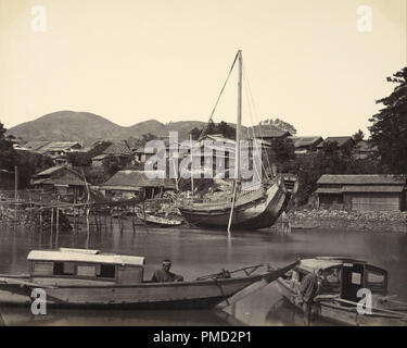 [Boats in River, Nagaski]. Date/Period: Ca. 1865. Print. Albumen silver. Height: 228 mm (8.97 in); Width: 285 mm (11.22 in). Author: Felice Beato. - Stock Photo