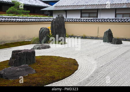 Traditional zen japanese garden in Kyoto, JAPAN - Stock Photo