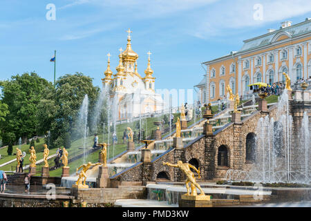 ST PETERSBURG, RUSSIA - 03 JUNE, 2018: Horizontal picture of big cascade fountain at Peterhof, located in St Petersburg, Russia - Stock Photo