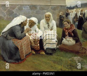 Ruokolahden eukkoja kirkonmäellä / Women Outside the Church at Ruokolahti / Women of Ruokolahti on the Church Hill. Date/Period: 1887. Painting. Oil on canvas. Height: 129.5 cm (50.9 in); Width: 158.5 cm (62.4 in). Author: Albert Edelfelt.
