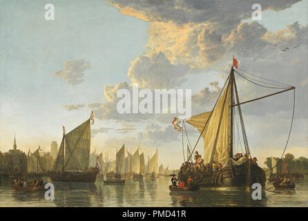 The Maas at Dordrecht. Date/Period: Ca. 1650. Painting. Oil on canvas. Height: 1,149 mm (45.23 in); Width: 1,702 mm (67 in). Author: Aelbert Cuyp. CUYP, AELBERT. - Stock Photo