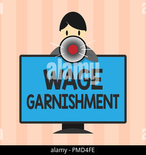 Text sign showing Wage Garnishment. Conceptual photo Deducting money from compensation ordered by the court. - Stock Photo