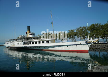 Paddle Steamer La Suisse berthed at Lausanne -1 - Stock Photo