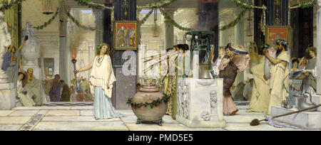 The vintage festival. Date/Period: 1871. Painting. Oil on panel. Height: 510 mm (20.07 in); Width: 1,190 mm (46.85 in). Author: Lawrence Alma-Tadema. - Stock Photo