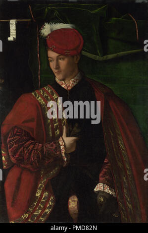 Lodovico Martinengo. Date/Period: 1530 - The fragmentary letters of the inscription have been thought in the past to give the date 16 June 1530. But the costume is of a later date, and this would suggest that the date ought to be read as MDXXXXVI spread over two lines (i.e. 1546). Painting. Oil on panel. Height: 105.5 cm (41.5 in); Width: 72.6 cm (28.5 in). Author: BARTOLOMEO VENETO. VENETO, BARTOLOMEO. - Stock Photo