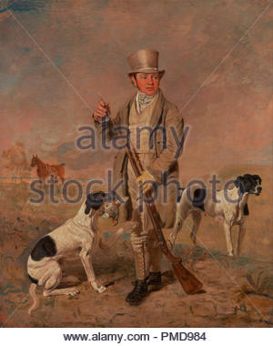 Portrait of a Sportsman, Possibly Richard Prince. Date/Period: Between 1825 and 1826. Painting. Oil on canvas. Height: 1,016 mm (40 in); Width: 864 mm (34.01 in). Author: Benjamin Marshall. - Stock Photo