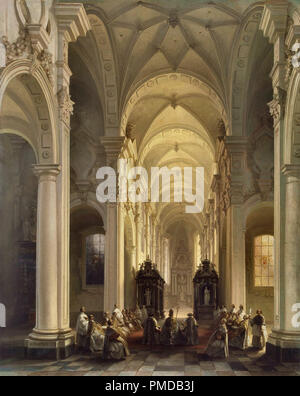 Genisson  Jules Victor - Interior of a Church in Averbode - Stock Photo