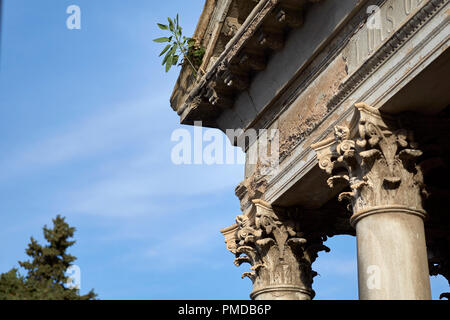 Old tomb building with greek columns in Recoleta Cemetery, Buenos Aires, Argentina - Stock Photo