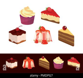 Dessert Set isolated on white and dark backgrounds. Illustrations of Tasty Dishes, Slices of Pie and Cupcake for Cafe and Restaurant decoration - Stock Photo