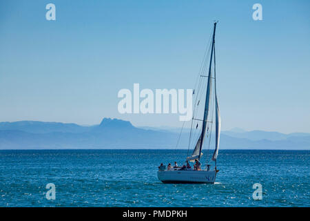 Capbreton (south-western France): sailing ship with the Spanish coast far off (not available for postcard production) - Stock Photo