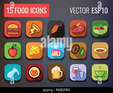 Food Icons Set for Menu of Cafe and Restaurant. - Stock Photo