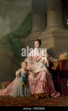 Queen Charlotte (1744-1818), with her Two Eldest Sons. Date/Period: Ca. 1764-69. Painting. Oil on canvas. Height: 247.8 cm (97.5 in); Width: 165 cm (64.9 in). Author: Allan Ramsay. Ramsay. RAMSAY, ALLAN. - Stock Photo