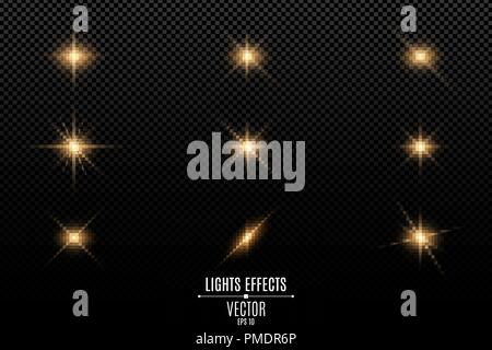 Collection of flashes, lights and sparks. Optical flares. Abstract golden lights isolated on a transparent background. Gold flashes and glares. Vector - Stock Photo
