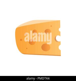 Icon of Cheese with holes isolated on white. Vector illustration in EPS 10. - Stock Photo