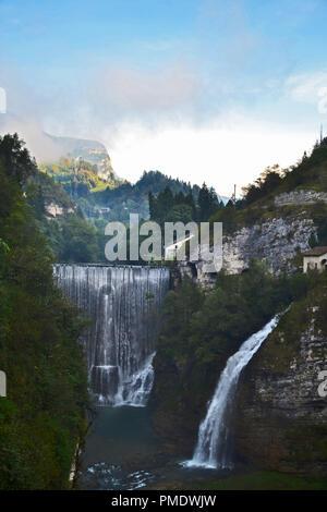 Two waterfalls in italian alps - Stock Photo