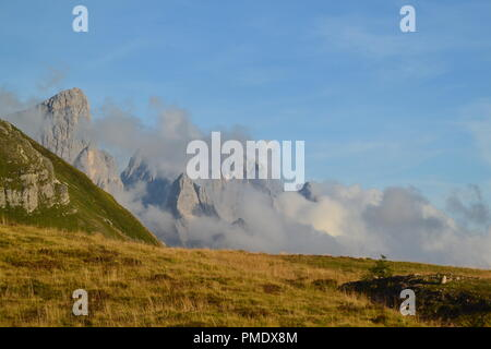 Breathtaking view of Passo Rolle - Stock Photo