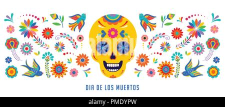 Day of the dead mexican holiday greeting card poster flyer dia de vector illustration day of the dead dia de los muertos background banner and greeting card concept m4hsunfo
