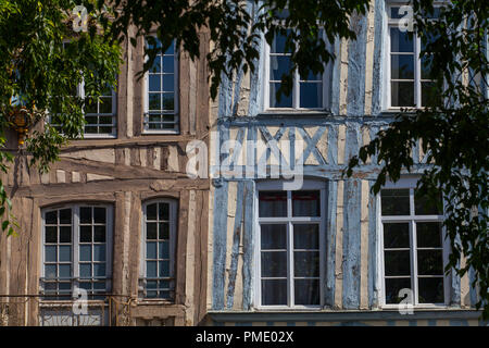 """Rouen (Normandy, northern France): facades of traditional Norman half-timbered houses in """"rue Martainville"""" street (not available for postcard product - Stock Photo"""