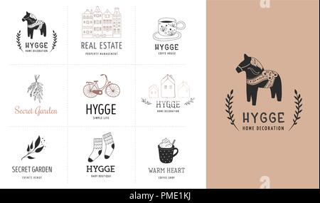 Hygge - Simple Life in Danish, collection of hand drawn elegant and clean logos, elements - Stock Photo