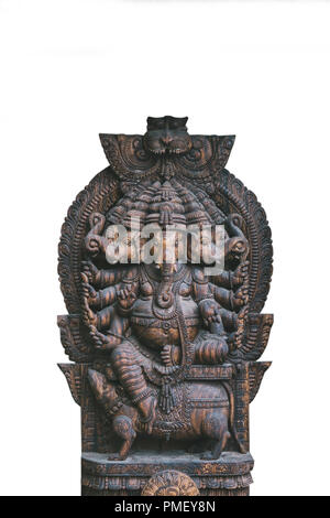 Isolated on white background God Ganesha is an elephant fulfilling desires. Hindu deity. - Stock Photo