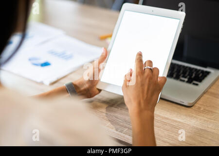 Lifestyle with modern woman using tablet or Ipad with hand holding touchscreen. Hands of working woman with Smart Tablet reading online website . Business Concept - Stock Photo