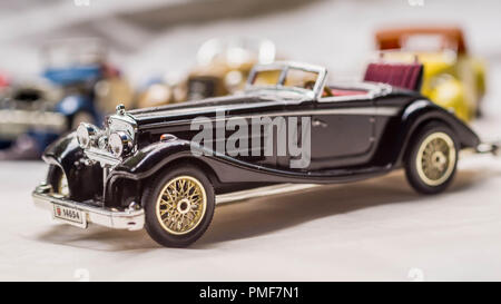 collection of old car model. replica of vintage car. collectible toys - Stock Photo