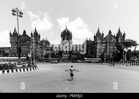 Chhatrapati Shivaji Maharaj Terminus, formerly known as Victoria Terminus is a historic railway station and a UNESCO World Heritage Site. - Stock Photo