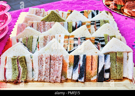 Many typical Italian sandwiches for a tasty party - selective focus - Stock Photo