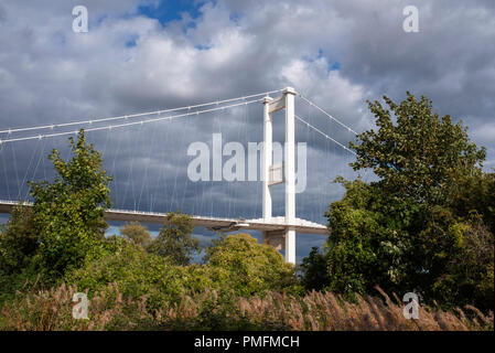 The old Severn Bridge at Beachley, Gloucestershire. - Stock Photo
