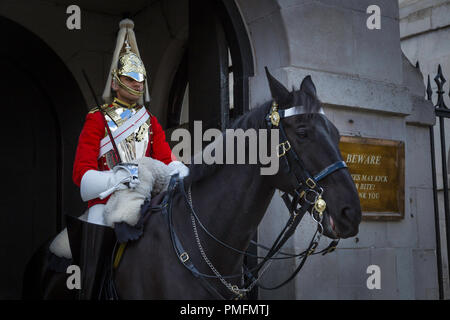 Mounted Guard at the entrance to Horseguards. - Stock Photo