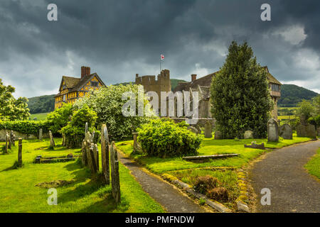 Stokesay Castle with its timber-framed gatehouse is the  best preserved fortified medieval manor house in England. - Stock Photo