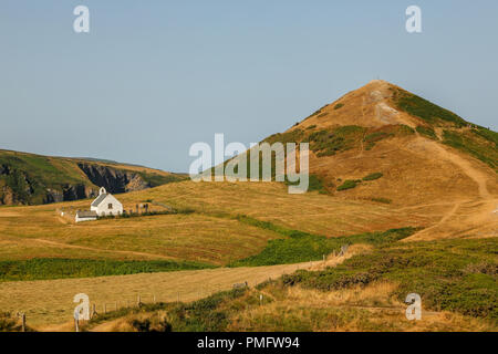 The historic Chapel The Church of the Holy Cross,  Eglwys y Grog ;Welsh: at  Mwnt,  in south Ceredigion, Wales, UK. - Stock Photo