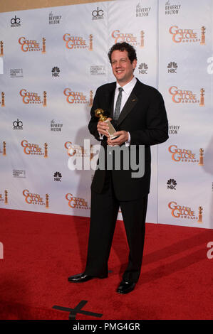After winning the category BEST ORIGINAL SCORE Ð MOTION PICTURE for ÒUpÓ Michael Giacchino displays his Golden Globe backstage in the press room at the 67th Annual Golden Globe Awards at the Beverly Hilton in Beverly Hills, CA Sunday, January 17, 2010. - Stock Photo