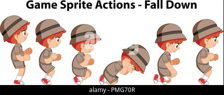 Game sprite actions - fall down illustration - Stock Photo