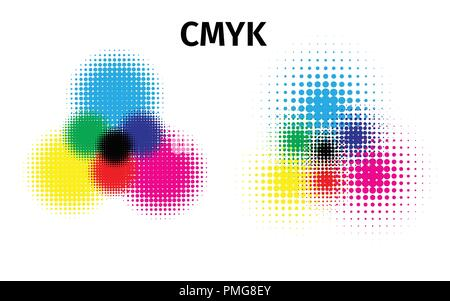 RGB and CMYK halftone vector illustration color - Stock Photo