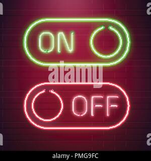 On and Off lamp Neon light Toggle switch button. Vector illustration. Fluorescent light vector illustration - Stock Photo