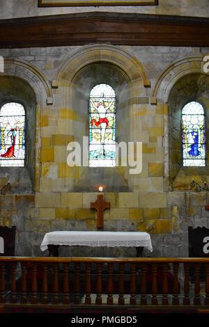 Church of Saint Mary interior, Whitby, North Yorkshire Moors, England UK - Stock Photo