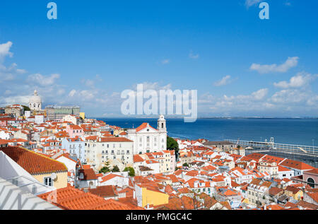 View over the Alfama district from Miradouro de Santa Luzia, Lisbon, Portugal - Stock Photo