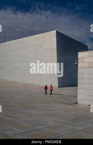 Oslo Opera House, opened in 2008, The  roof plaza and Stage Tower, Oslo, Norway - Stock Photo