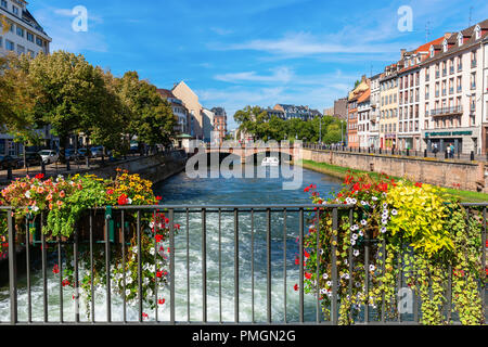 Strasbourg, France - September 09, 2018: canal in the center of Strasbourg with unidentified people. Strasbourg is the capital and largest city of the - Stock Photo